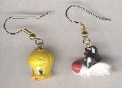 Funky Mini TWEETY and SYLVESTER HEADS EARRINGS - Warner Bros Looney Tunes Dimensional Cat Bird Cartoon Character Comics Charm Novelty Costume Jewelry - Colorful Double-Sided Face Miniature Resin Ornament Charms