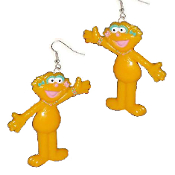 Big Funky ZOE BODY EARRINGS - Sesame Street TV Costume Jewelry