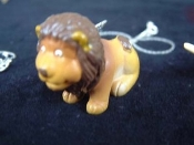 Huge Funky LION SITTING PENDANT NECKLACE - Fun Jungle King Mini Toy Zoo Animal Veterinarian Novelty Costume Jewelry - Large Rubbery Plastic Toy Charm. Choose neck chain or cord.
