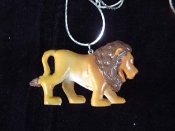 Huge Funky LION WALKING PENDANT NECKLACE - Fun Jungle King Mini Toy Zoo Animal Veterinarian Novelty Costume Jewelry - Large Rubbery Plastic Toy Charm. Choose neck chain or cord.
