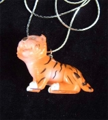 TIGER TOY PENDANT NECKLACE-Jungle Cat Zoo Animal Toy Jewelry-BIG