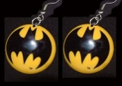 "Huge BATMAN BAT SIGNAL EARRINGS - Super-Hero Charm Jewelry - ""Na-Na-Na-Na-Na-Na-Na-Na... BAT-MAN!!!"""
