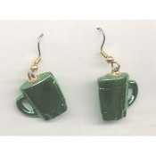 DRINK MUG EARRINGS - Coffee Cup Jewelry - METALLIC Green Plastic Charm