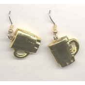 DRINK MUGS EARRINGS - Coffee Cups Jewelry - METALLIC Gold-tone Plastic Charm