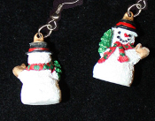 Mini Dimensional SNOWMAN EARRINGS - Christmas Charm Jewelry