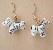 ZEBRA EARRINGS - Zoo Vet Noah's Ark RESIN Zebras Charm Jewelry