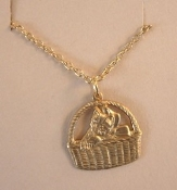 CAT BASKET PENDANT NECKLACE-House Pet Kitty Animal Charm Jewelry