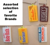 CHOCOLATE BAR PENDANT NECKLACE-Candy Food Charm Funky Jewelry