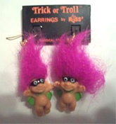 Mini collectible TROLL DOLL SUPER-HERO BANDIT ROBBER EARRINGS with MASK and CAPE - Punk funky retro Russ Berrie little TRICK-or-TROLL retired novelty costume jewelry - PURPLE Hair - Miniature gothic vintage Halloween lucky charm gnome trolls.