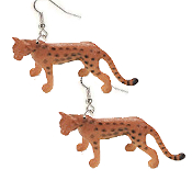 "HUGE Jungle Wild Cat CHEETAH LEOPARD TOY EARRINGS - Mini Safari Zoo Circus Animal Novelty Charm Costume Jewelry - Large plastic miniature realistic dimensional detailed wild cat figure, approx 1-1/8"" tall x 2-1/2"" long."