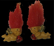 Mini collectible TROLL DOLL WINGED CUPID EARRINGS - Punk funky retro Russ Berrie little TRUE LOVE TROLLS retired costume jewelry - RED Hair - Miniature vintage Valentine's Day lucky charm angel gnome with heart-shaped rhinestone