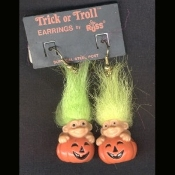 Funky Mini Retro TROLL JACK LANTERN FUNKY EARRINGS - Cute Vintage Halloween Decorated Imp Pumpkin Charm - Russ Berrie Retired Collectible Trick Troll Novelty Costume Jewelry - GREEN Hair - Mini fall holiday gnome troll.