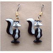 Funky Mini Figure PEPE LE PEW SKUNK EARRINGS - Looney Tunes Novelty Costume Jewelry - Stinky favorite funny classic cartoon comics character animal theme dangle charm miniature rubbery plastic ornament fully dimensional figurine.
