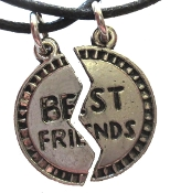 Funky Retro Broken Circle Puzzle BFF BEST FRIENDS PENDANT NECKLACE SET - Nostalgic Friendship Novelty Costume Jewelry - 1-for-YOU and 1-to-SHARE - Silver-tone Pewter metal charms, on 18-inch (45cm) black leather-look neck cord.