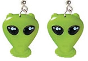LITTLE GREEN MEN ALIEN EARRINGS - Big Plastic charms, each approx. 1-5/8-inch (4.06cm) tall. Classic X-Files character. Popular UFO symbol, famous Area 51 extra terrestrial intelligent creature from another world. For any human who wants to BELIEVE!
