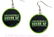 The INCREDIBLE HULK LOGO EARRINGS - HUGE Retro Movie Comics Novelty Cartoon Character Cosplay Costume Jewelry - You can be a Super-Hero wearing these big, funky collectible dangle charms. Opaque Plastic Charm. Banner, Bixby, Norton, collector fans!