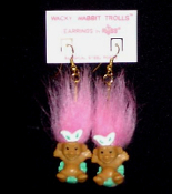 Mini collectible TROLL DOLL WACKY WABBIT Easter Bunny EARRINGS - Punk funky retro Russ Berrie little retired spring holiday novelty costume jewelry - PINK Hair - Miniature vintage cute lucky charm gnome rabbit trolls sitting in decorated egg.