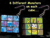 SUDOKU CUBE MONSTER PUZZLE GAME EARRINGS - HUGE Rubik Toy Jewelry - Really Works!