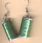 Miniature 7-UP CANS EARRINGS - UnCola Soda Pop Fast Food Charm Jewelry