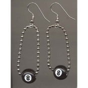 EIGHT-BALL CHAIN EARRINGS - Retro Pool Hall Lucky Jewelry - Get behind the 8-ball!