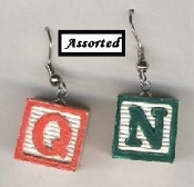 ALPHABET - ABC Baby BLOCKS EARRINGS - Teacher Jewelry - Mini 3-D ALPHA Wood Beads. Chosen from assorted letters and colors.