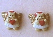 Teeny Weeny Itsy Bitsy ANGEL KITTY CAT EARRINGS with Red Heart - Cute Button Jewelry