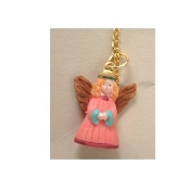 ANGEL PENDANT NECKLACE - Christian Faith Charm Jewelry-Tiny PINK