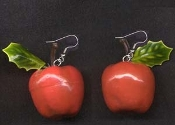 APPLE EARRINGS - Large Lacquer Dimensional Fruit - Teacher / Doctor Jewelry - Red shiny toy charm