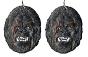 Huge Funky KING KONG SASQUATCH EARRINGS - Gorilla Monkey Novelty Movie Character Collectible Costume Jewelry - BIG Dimensional Plastic Charm Ape. Don't mess with Sasquatch!