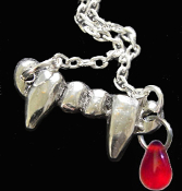 Funky Bite Me - Fang Banger - True Blood Drop VAMPIRE FANGS with BLOOD DROP PENDANT NECKLACE Gothic Costume Jewelry Pewter Fangs Charm. True Blood, Twilight, Dusk Til Dawn, Vampire Diaries, Buffy the Vampire Slayer, Underworld character inspired.