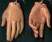 Body Parts HAND FINGERS DANGLE EARRINGS - Creepy Halloween Realistic 3-D Freaky Gothic Costume Jewelry