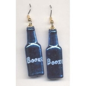BOTTLE of BOOZE - LIQUOR EARRINGS - Bar - Bartender Jewelry - METALLIC BLUE Plastic Charm