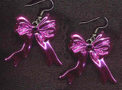 Funky HOT PINK METALLIC RIBBON BOW EARRINGS - Valentines Day Novelty Costume Jewelry - Shiny plastic bright pink color charm bows, approx. 1-inch (2.5cm) tall.