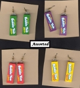 Funky BUBBLE YUM EARRINGS - Chewing Gum - Cheerleader Sports Junk Food Vending Charm Jewelry - 1-pair, Chosen from assortment, as shown