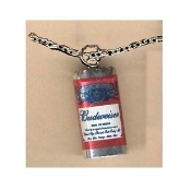 Funky Mini BUDWEISER BUD BEER CAN PENDANT NECKLACE - Cocktail Waitress Waiter Bartender Punk Food Sports Bar Drink Charm Costume Jewelry - King of Beers Miniature Metallic Paper-covered, Plastic Dimensional BEER CAN charm.