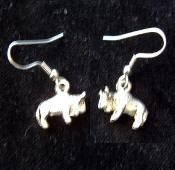 Funky Vintage BUFFALO BISON EARRINGS - Mini Western Native American Rodeo Cowboy Theme Novelty Pewter Metal Alloy Charm Novelty Costume Jewelry - Approx. 1/2-inch (1.25cm) Diameter.
