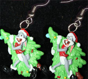 Funky Mini Christmas BUGS BUNNY SANTA TREE EARRINGS - Looney Tunes Christmas Holiday Novelty Costume Jewelry - Xmas cartoon comics character dangle charms - Warner Bros Luney Toons licensed miniature resin ornament.