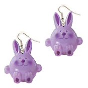 Huge Funky PURPLE BUNNY EARRINGS - Cute RABBIT DANGLE Country Baby Farm Spring Garden Animal Toy Costume Jewelry - Big Easter Novelty Half-Dimensional Plastic Charm.
