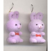 HUGE Funky Fuzzy BUNNY EARRINGS - Cute Mini Easter Spring Garden Rabbit Toy Pet Costume Jewelry - Adorable Pastel LAVENDER PURPLE Flocked Plastic Miniature Animal Charm, approx. 1.25-inch (3.13cm) Tall.