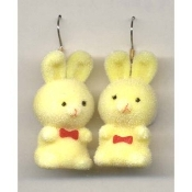 HUGE Funky Fuzzy BUNNY EARRINGS - Cute Mini Easter Spring Garden Rabbit Toy Pet Costume Jewelry - Adorable Pastel YELLOW Flocked Plastic Miniature Animal Charm, approx. 1.25-inch (3.13cm) Tall.