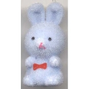 HUGE Funky Fuzzy BUNNY PENDANT NECKLACE - Cute Mini Easter Spring Garden Rabbit Toy Pet Costume Jewelry - Adorable Pastel BLUE Flocked Plastic Miniature Animal Charm, approx. 1.25-inch (3.13cm) Tall on 18-inch (45cm) Neck Chain with safety clasp.