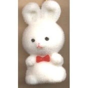 HUGE Funky Fuzzy BUNNY PENDANT NECKLACE - Cute Mini Easter Spring Garden Rabbit Toy Pet Costume Jewelry - Adorable Pastel WHITE Flocked Plastic Miniature Animal Charm, approx. 1.25-inch (3.13cm) Tall on 18-inch (45cm) Neck Chain with safety clasp.