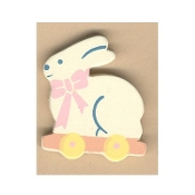 BUNNY WAGON BUTTON PIN - Wood Country Gardener - Rabbit Farmer - Easter Jewelry