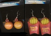 Retro BURGER & FRENCH FRIES EARRINGS USA American Restaurant Novelty Vintage Inspired Gumball Vending Charms Costume Jewelry - *2- pair* FAST FOOD SNACK EARRINGS.