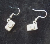 Mini Pewter CAMERA EARRINGS - Paparazzi Photography Charm Jewelry