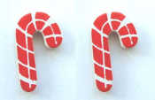 Small Wood CANDY CANE EARRINGS - Crafts Xmas Button Stud Holiday Jewelry