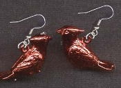 CARDINALS EARRINGS - Metallic Red Bird Baseball Team Charm Jewelry - Shiny finished