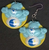 BEDTIME BEAR - Dangle EARRINGS - Care Bears - Collectible Jewelry - BIG