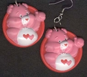 LOVE-A-LOT BEAR - Dangle EARRINGS - Care Bears - Collectible Jewelry - BIG