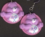 SHARE BEAR - Dangle EARRINGS - Care Bears - Collectible Jewelry - BIG
